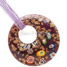 Millefiori Gold Purple Round Lampwork Glass Murano Bead Pendant Wax Necklace