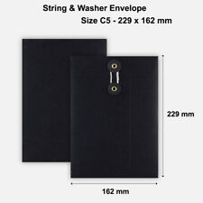 More details for c5 size quality string and washer envelopes button-tie black mailer cheap