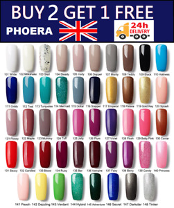 PHOERA® NAIL GEL POLISH SOAK OFF UV LED MANICURE ART BASE TOP TEMPERED COAT UK