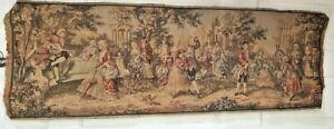 """Vintage Belgian Tapestry Pastoral Romantic Scene 56"""" x 19.5"""""""