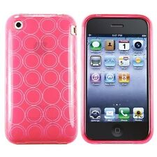 2 x Pink, Green Circle TPU Rubber Case Cover & LCD Protector For iPhone 3GS 3G