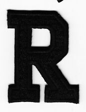 """LETTERS - BLACK BLOCK LETTER """"R"""" (1 7/8"""") - Iron On Embroidered Applique Patch"""