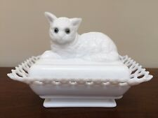 Westmoreland Milk Glass Cat Covered Dish