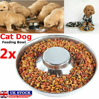 2x Silver Stainless Steel Puppy Pet Dog Cat Litter Food Feeding Bowl Feeder Dish