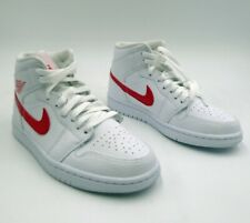 Air Jordan 1 Mid Sneakers White, WMNS size 6.5 UPC BQ672 University Red Jumpman