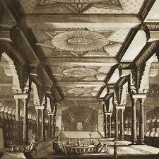 Scenografia Teatro 1821 Basoli Acquaforte Antica Reggia Asiatica