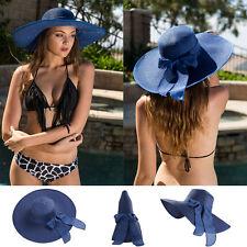 Navy Women Wide Brim Floppy Straw Hat Bohemia Summer Sun Beach Bow Derby Cap