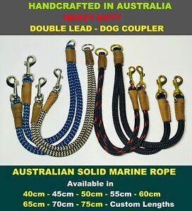 Double Lead Dog Coupler Two Way Lead Solid Rope Heavy Duty AUSTRALIAN HANDMADE