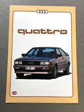 1982 Audi Quattro Coupe Original Car Sales Brochure - Swedish