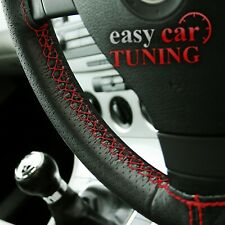 For Peugeot 206 black perforated genuine soft leather steering wheel cover red