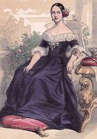 Portrait XIXe Reine d'Espagne Isabelle II d'Espagne Isabel II de España 1845