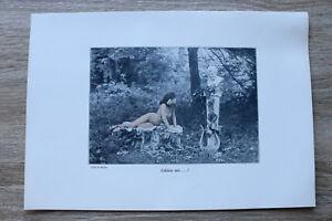 Jugendstil Kunst Blatt 1905 Erotik Frau ERKLÄRE MIR Akt Nude Erotic Risque nackt