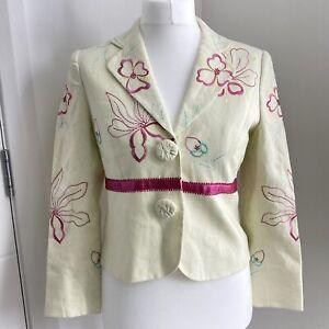 Arruba 100% Linen Jacket UK 10 12 Pale Yellow Embroidered Floral Summer Wedding