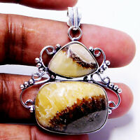 Natural Septarian Stone 925 Sterling Silver Plated Handmade Jewelry Pendant 17 g