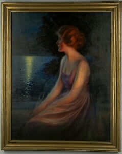 Large Original 1920s Framed Warde Traver Oil on Canvas Pin-Up Painting Published