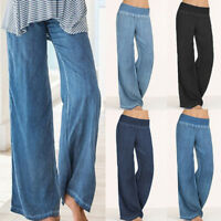 Women's Elastic Waist Straight Wide Leg Pants Denim Jeans Palazzo Loose Trousers