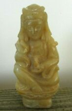 GUANYIN Quan-Yin KUAN-YIN Chinese Soapstone Statue Pendant Seated Lotus Buddhist