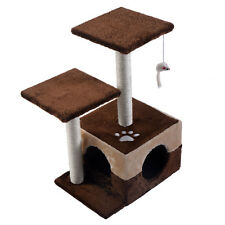 "27"" Cat Tree Deluxe Condo Furniture PlayToy Scratch Post Kitten Pet House Coffee"