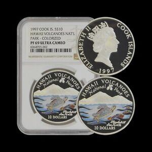 COOK ISLANDS. 10 Dollars, 1997, Silver - NGC PF69 - Top Pop 🥇 Hawaii Volcanoes