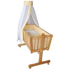 Komplette Babywiege Bett Stubenwagen Schaukelwiege Wiege gelb NEU OVP