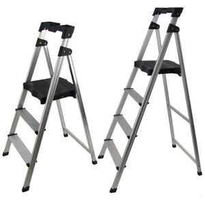 3 4 Stable 120kg Step Ladder Aluminium Frame Folding Stool Lightweight