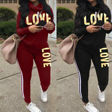 2pc Women Long Sleeve Letter Print Casual Tracksuit Set Sport Jumpsuit Plus Size