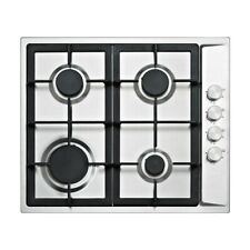 Gas Hob Stainless Steel 4 Burner 600mm Cast Iron Pan Stands KP50