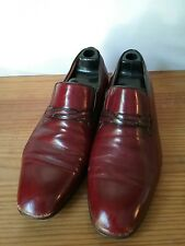 Mens Leather Loafer Size 8 Hand made ITALY Dress Casual Shoe Burgandy GRAVATI