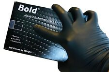Bold Black Nitrile Exam Gloves Powder & Latex Free Confort Work Protective Gear