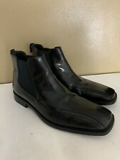 PRADA Black Polished Leather Chelsea Pull On Ankle Boots Men Size 8.5