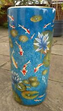 Oriental Chinese Ceramic Porcelain Koi Carp Fish Waterlilies Umbrella Stand Pot