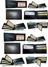 A lot of 12 New man's leather Black bi fold wallet 12 credit card 2 billfolds ID