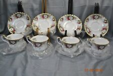 Royal Albert Celebration Cups & Saucers Set of 4 New w/ Sticker Roses 1969