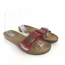 Scholl Size 38 UK5 Red Patent Leather Slip On Peep Toes Mules Flat Sandals Shoes