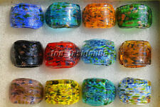 Wholesale Lot Mode Jewelry 12Pcs Summer Style Charms Gold Dust Murano Glass Ring