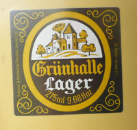BRITISH VINTAGE BEER LABEL - RANDALLS BREWERY, ST HELIER. GRUNHALLE LAGER