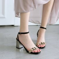 Womens Block High Heels Ankle Strap Buckle Roman Shoes Summer Sandals Plus Size