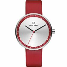 Jacob Jensen 283 Strata Ladies Red Leather Strap Watch