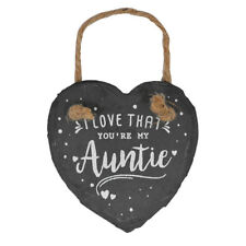 I Love That You're My Auntie Mini Heart Shaped Hanging Slate Plaque With Rope