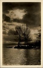 Zürich Schweiz alte Postkarte ~1930/40 Partie am Alpenquai Steg Bäume Wolken