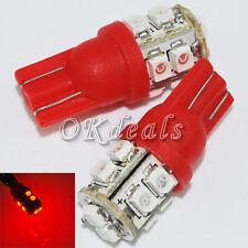 2PCS New RED Light DC 12V LED Lamp T10 10-SMD 194 168 W5W 0.6W 6500K 30-LM Bulbs