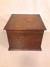 Antique Wooden Case Box with Inlaid Starburst or Compass Design Walnut Mahog?