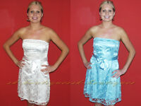 NEW WHITE AQUA BLUE BOOB TUBE BANDEAU WEDDING SKATER STYLE LACE DRESS 8 10 12 14