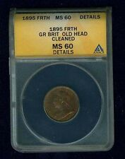 """ENGLAND VICTORIA 1895 FARTHING COIN """"UNCIRCULATED DETAILS"""" ANACS CERTIFIED"""