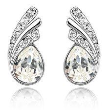 Amazing White Crystal Angel Wings Silver Studs Earrings Rhinestone E367