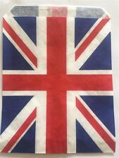 "100 UNION JACK STRIPE PAPER BAGS 7 x 9"" IDEAL FOR CARDS SMALL GIFTS ETC"