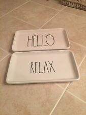 """🌸Rae Dunn """"HELLO"""" and """"RELAX"""" Trinket Trays Dish 💯Authentic"""