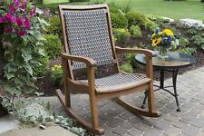 Outdoor Rocking Chair Resin Wicker Wood Brown Gray Taupe Porch Patio Rocker NEW