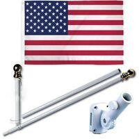 American USA 3 x 5 FT Flag w/ 6-Ft Spinning Flag Pole + Bracket (Tangle Free)