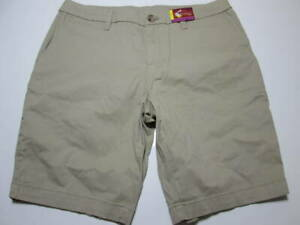 NWT Faded Glory Womens Size 12 Chino Shorts Beige Cotton Blend Pockets Casual